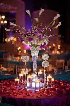 glass centerpiece with crystal candle holders   courtesy Garrett Frandsen Photography   www.shaadibelles.com