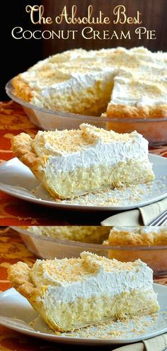 The absolute best! A creamy, old-fashioned coconut cream pie recipe that this av… The absolute best! A creamy, old-fashioned coconut cream pie recipe that this avid baker has used for over 30 years. I have never tasted a better recipe. Old Fashioned Coconut Cream Pie Recipe, Best Coconut Cream Pie, Coconut Custard Pie Recipe Best, Coconut Cream Pie Filling Recipe, Sugar Cream Pie Recipe, Recipes With Coconut Cream, Old Fashioned Recipes, Coconut Recipes, Baking Recipes