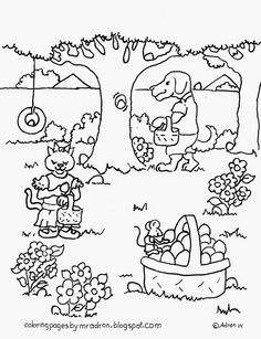 Animal Friends Easter Egg Hung Coloring Page See More At My Blog Coloringpagesbymradronblogspot 2014 04
