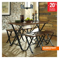 The sleek and chic Signature Design by Ashley Freimore 5 Piece Rectangular Dining Table Set includes a rectangular table and four backless stools. The pine tabletop and contoured seats are compleme… Black Dining Set, 5 Piece Dining Set, Dining Room Sets, Dining Area, Black Dining Room Table, Dining Tables, Pc Table, Table Stools, Kitchen Sets
