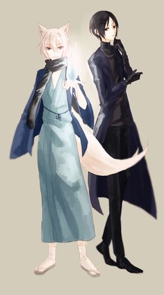 Tomoe and Kirihito. They look like supernatural detectives, lol. (Kamisama Kiss / Hajimemashita)