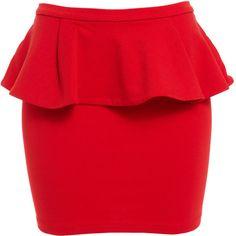 Bardot Scarlet Peplum Mini ($42) ❤ liked on Polyvore