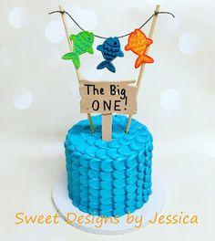 Fishing themed 1st bday smash cake