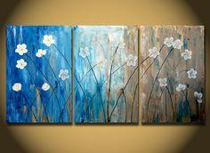 Original FLOWER PAINTING Abstract White Daisies by OritArt on Etsy