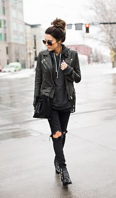 Hoodie with leather jacket