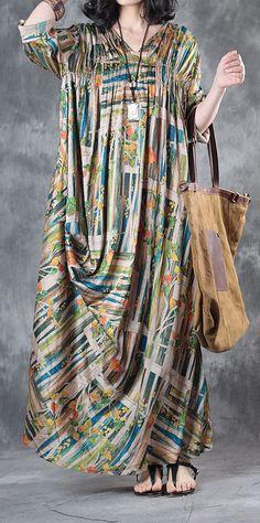 baggy silk dresses plus size draping sundress v neck vintage maxi dress