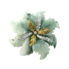 BUCCELLATI Jadeite Jade and Diamond Flower Brooch. | From a unique collection of vintage brooches at http://www.1stdibs.com/jewelry/brooches/brooches/