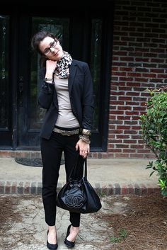 Love the black and grey with the blazer and leopard print scarf..love the Coach bag :)