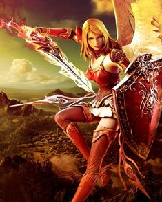 Angel warrior female angel sword shield