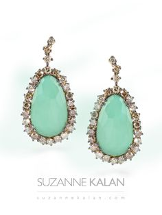 New Suzanne Kalan Earring - Chrysophase with Champagne Diamonds!!