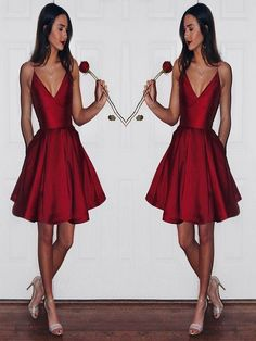 Sexy Spaghetti Burgundy Short Mini Homecoming Dresses, Party Dresses with Pockets