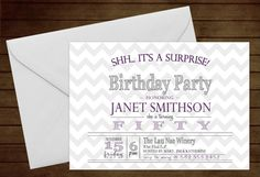 Printable Chevron Surprise Birthday Invitation-Print Yourself-Digital Invite