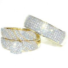Trio Rings Wedding Set for His and Her 0.7ct Diamonds 10K Gold #MidwestJewellers #TrioWeddingSet
