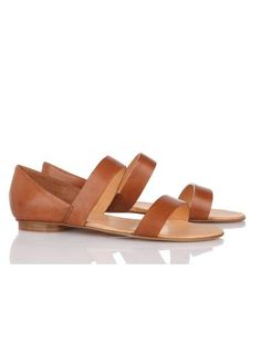 Sandales plates cuir NATUREL by LES PRAIRIES DE PARIS