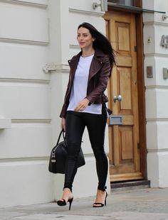 Karen Millen Burgandy Leather Jacket - MAJE shoes
