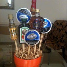 Birthday MAN Bouquet!  Easy with a $1 pot from Dollar Tree, skewer stix, mini liquor bottles, skoal, styrofoam floral ball & glu gun!