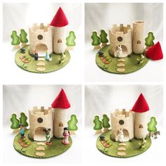Castle with Red Turret Playscape wool felt play mat imagination pretend play storytelling storybook fairytale dollhouse peg doll