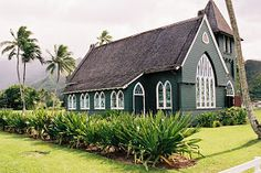 Church Hanalei by Dennis Begnoche - Photo taken of church in Hanalei Hawaii. Click on the image to enlarge.