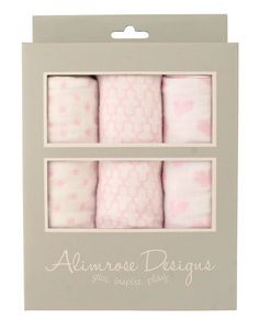 Alimrose 100% Cotton Muslin Set - Star/Mosaic/Bunny Pink - Ultra soft large 100& cotton muslin wraps in stylish prints. The perfect baby gift!
