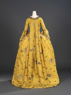 Overdress of a woman's 3 piece dress (robe à la française 18th Century Dress, 18th Century Clothing, 18th Century Fashion, Historical Costume, Historical Clothing, Vintage Outfits, Vintage Fashion, Mode Rococo, Dress Name