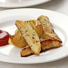 Oven Fries - Cut 1 potato into wedges and toss with 2 tsp evoo and salt.  Bake at 450 for 20 min. turning once.