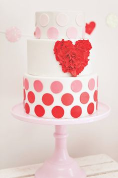 ombre polka dotted cake for Valentine's Day