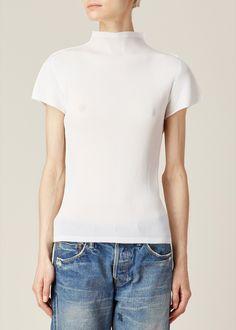 Issey Miyake PLEATS PLEASE Mock Neck Short Sleeve Top (White)