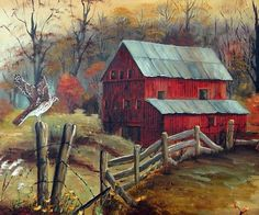 Southern Folk Art Paintings Prints Red Barn and fence - Red Tail Hawk - Barb Wire, Autumn Wall Decor, Fall, Country Painting, Arie Taylor Farm Paintings, Country Paintings, Landscape Paintings, Landscapes, Watercolor Barns, Watercolor Paintings, Acrylic Paintings, Primitive Painting, Barn Pictures