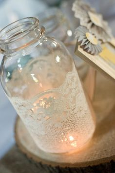 Table Decorations - Candles in Jars with Lace