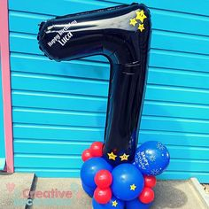 𝗖𝗿𝗲𝗮𝘁𝗶𝘃𝗲 𝗗𝗲𝗰𝗼𝗿𝗮𝘁𝗶𝗼𝗻𝘀 🎈🍬 (@creativedecorations) • Birthday boys 7th birthday balloons. A Personalised number balloon with added details for Mario themed birthday.