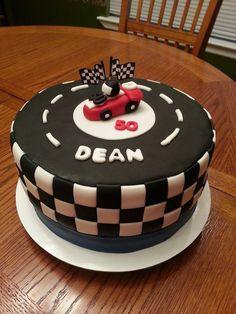 race car race track checkered flag cake