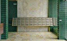 Emerald green enamelled sandstone and marble entrance designed by 📷: Contemporary Interior, Modern Interior Design, Interior Design Living Room, Commercial Design, Commercial Interiors, Architecture Details, Interior Architecture, Apartment Mailboxes, Design Entrée