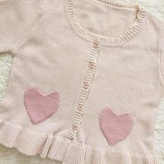 Cropped Pink Cardigan Sweater with Heart Pockets