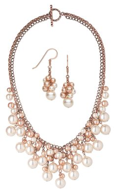 JOIAS E SEMI-JOIAS CASUAL · Double-Strand Necklace and Earring Set with  Glass Pearl Beads and Antiqued… Maxi Colares bac28d03e0
