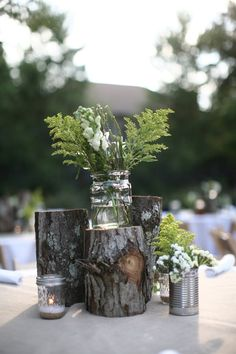 rustic mason jar centerpieces | rustic and simple centerpiece - logs and mason ... | Outside Wedding ...