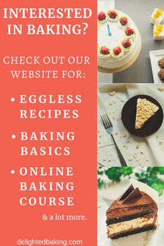 Interested in baking? Check out our website for eggless baking recipe, baking basics for beginners, online baking course and a lot more. Eggless Recipes, Eggless Baking, Baking Recipes, Eggless Muffins, Baking For Beginners, Recipes For Beginners, Easy Desserts, Delicious Desserts, Yummy Food