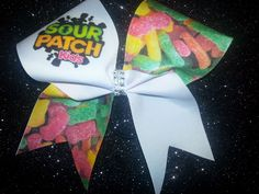 Sour Patch Kids Candy Cheer Bow on grosgrain ribbon with BLING! Softball Hair Bows, Cheer Hair Bows, Cheerleading Bows, Cute Cheer Bows, Big Bows, Kids Cheering, Jojo Bows, Cheer Outfits, Sour Patch Kids