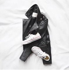 Leather moto jacket and white converse. #flatlay #flatlayapp