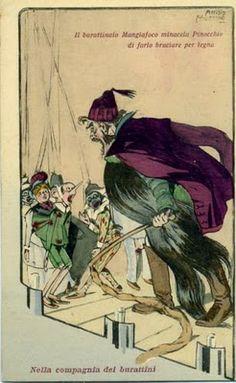 Il burattinaio Mangiafuoco minaccia Pinocchio  di farlo bruciare per legna -  Nella compagnia dei burattini -  11658 Fototipia Alterocca - Terni