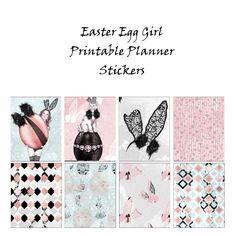 Easter Egg Glam Girl l Printable Planner Stickers l Erin Condren l Fashion Model Lingerie Cat Bling l Black Pink l PDF l Scrapbook Journal by StickersByTracey on Etsy
