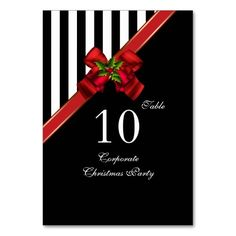Table Number Cards Corporate Christmas Xmas Party Table Cards Personalized Invitations by zizzago.com