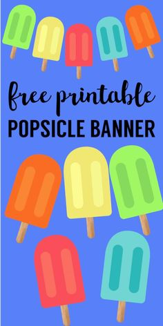 Popsicle Summer Banner Decor Free Printable. Fun summer decor for a barbecue, last day of school party, memorial day printable, or 4th of July. #papertraildesign #lastdayofschool #schoolsoutforsummer #barbeque