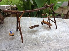 Miniature Fairy Garden Swing Set by 4loveofjunk on Etsy