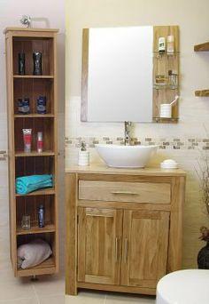 Home Furniture Land Solid Oak Vanity Unit with Basin Sink Oak Vanity Unit, Oak Bathroom Vanity, Bathroom Collections, Basin Sink, Wardrobe Doors, Bathroom Essentials, Top Drawer, Vanity Set, Ceramic Bowls