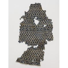 Sock fragment from Egypt  1100-1300 from Egypt  knitted in cotton in blue and white. See Dame Christian's article in Knitting Traditions for pattern/further info/analysis.