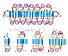 Free pattern for bracelet Viva with tila beads - 2----------U need: tila beads pearl beads 4 mm seed beads 10/0-11/0
