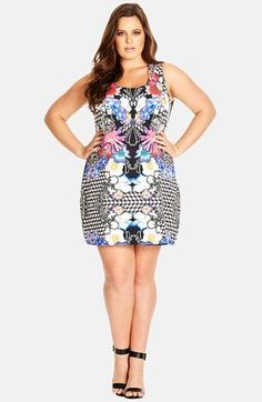 City Chic 'Wild Floral' Print Front Sleeveless Shift Dress (Plus Size) available at #Nordstrom