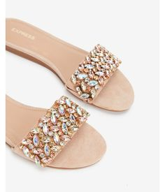Every step you take sparkles with chic shoe style in these jewel-embellished sandals. Wear these comfortable, padded sandals for day or night. Sandals Outfit, Sport Sandals, Open Toe Sandals, Slide Sandals, Shoe Boots, Shoes Heels, Nursing Shoes, Jeweled Sandals, Embellished Sandals