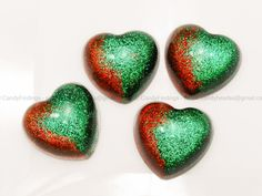 Red and green glitter heart cabochon for crafts or personalised jewelry and decoration Craft ideas by candybead, $2.95 USD