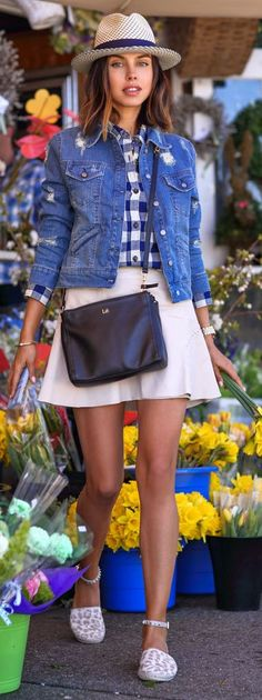 Gingham Button Down Outfit Idea by Vivaluxury